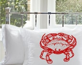 One (1) Red Crab White Nautical Standard Pillowcase pillow cover case