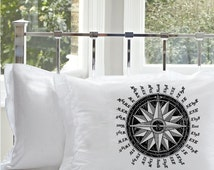 Two (2) Black Nautical Vintage Ship Compass Pillowcase Pillow case Astrolabe decor beach room bedroom coast navigation compasses Argonaut