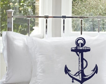 Navy Blue NAUTICAL Ship's Anchor PILLOWCASE pillow covers