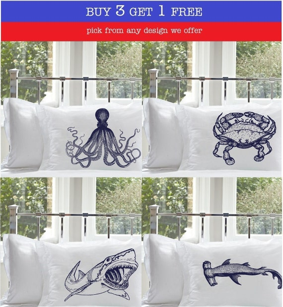 Buy 3 Get 1 Free Nautical Pillowcases Pillow case select from any design we offer octopus, crab, great white shark, hammerhead, ship, etc