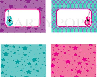 RockStar Party,  Food Label or Name place card, Tabel tent cards, PRINTABLE, Rock Star Party Printable, Rock Star, guitar, INSTANT DOWNLOAD