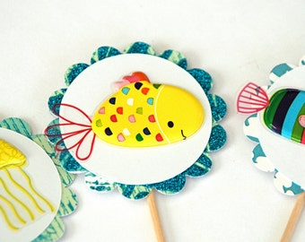 Fishy & Friends - Cupcake Toppers