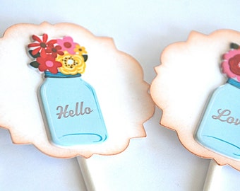 Vintage Bell Jar & Flowers - Cupcake Toppers/Party Sticks