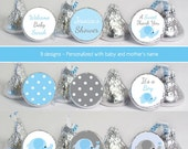 baby shower favors stickers for mini candy (No.K41) elephant boy polka dots blue gray