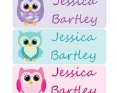 30 Custom Personalized Waterproof Owl School Girl Decoration Name Sticker Labels | Custom Sticker Labels | Kids Supplies and Decor No.N3G