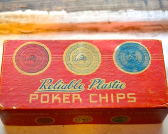 REDUCED! - vintage plastic poker chips in it's sweet original bright red paper board box