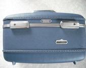 Vintage American Tourister Blue Luggage Vanity Hard Suitcase Tiara 1960s 1970s