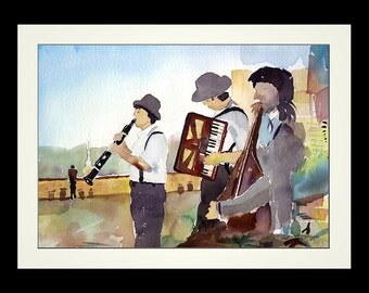 Prague Funfair Orchestra - Framed Limited Edition Watercolor Print