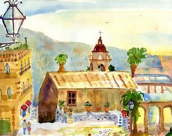 Taormina Italy Watercolor Print, Art Print of Sicily, Sicilian Art Print, Taormina Sicily Wall Art Print, Taormina Italy Landscape painting
