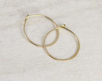 Ophelia handmade earrings, yellow gold filled, tiny hoops by lotusstone on etsy