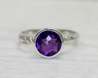 Large Amethyst Gemstone Ring in Sterling Silver, custom sized stacking ring with art deco band