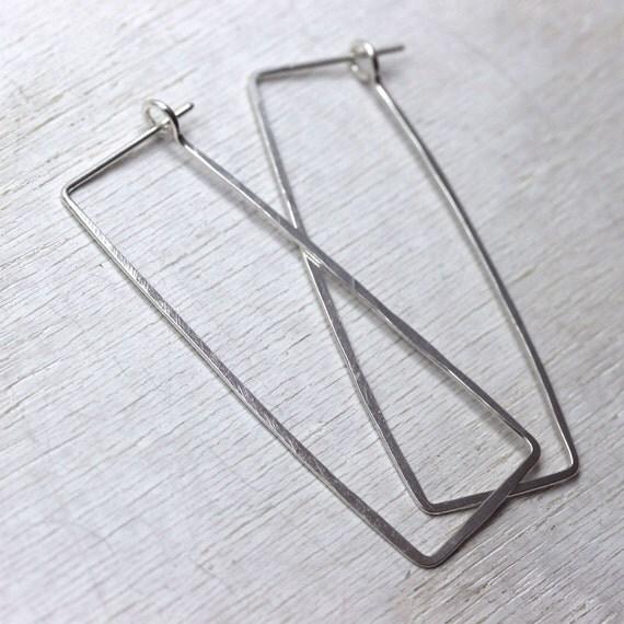 Ophelia handmade earrings, sterling silver long rectangles
