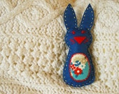 Felt bunny softie with flower tummy