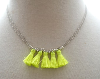 Silver Neon Yellow Tassel Necklace