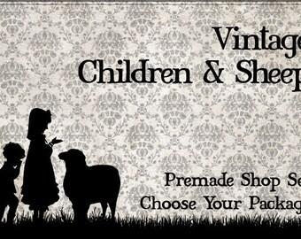 Vintage Children & Sheep - Etsy Shop Banner Package - Elegant, Simple Country Store Design, Premade Set of Graphics