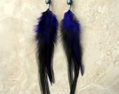 Long Feather Earrings - Purple and Black Beaded Feather Earrings