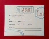 Jetsetter Wedding Invitation Suite - Letterpress - Airport Tags - Travel