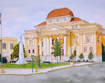 Old Iredell County Court House in Statesville NC Print from the Original Watercolor by Michael Joe Moore