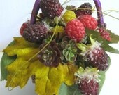 Fruit Arrangement Fruit Basket Faux Raspberry Berry Basket Rustic Cottage Country Garden Decorating