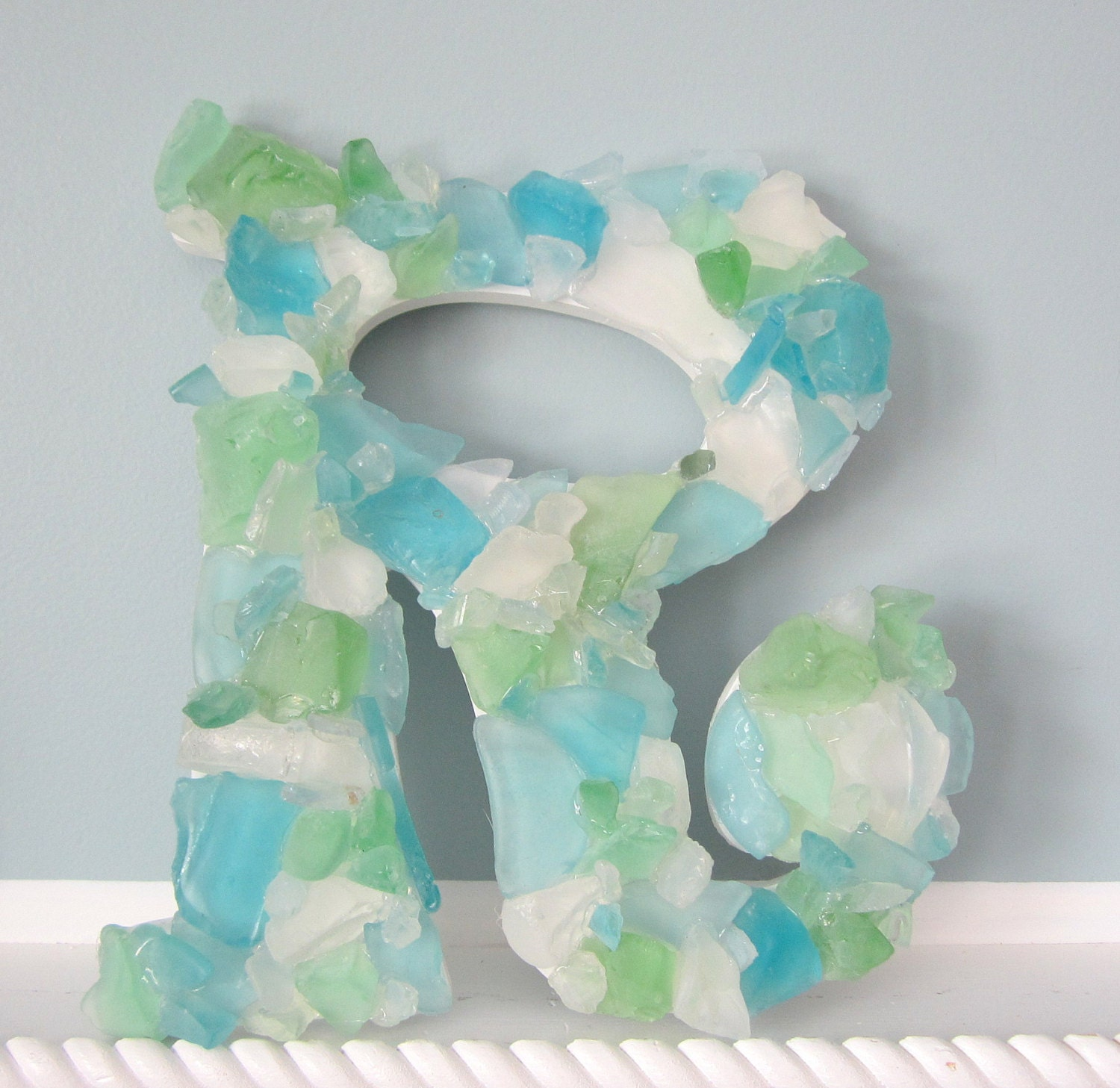 beach decor sea glass wall letter nautical by With glass letters for wall