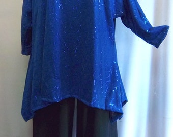 Coco and Juan Lagenlook Plus Size Top Royal Blue Drape Sides Tunic Top One Size Bust  to 60 inches
