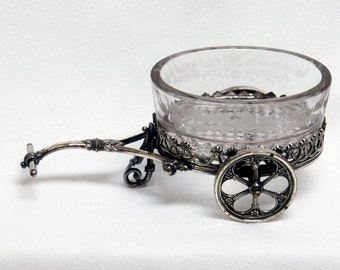 Rolling Caddy James W Tufts Silver Plate  Condiment or Master Salt