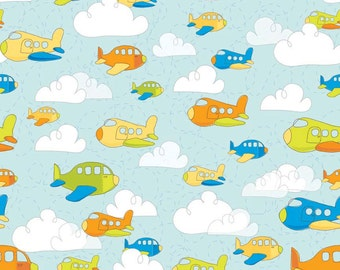 Popular items for airplane fabric on etsy for Childrens airplane fabric
