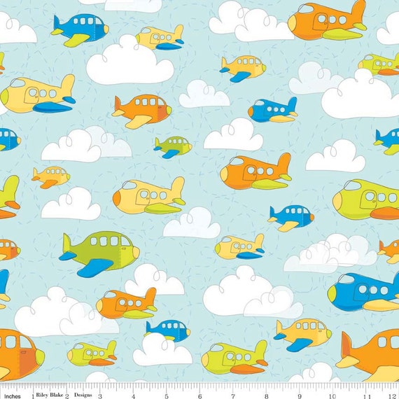 Airplanes fabric by the yard or half yard fabric riley for Airplane fabric by the yard