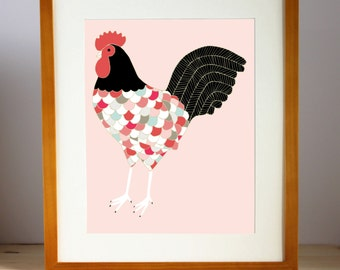 Barnyard Rooster Illustration, Rooster Print, Rooster Art Print, Rooster Wall Art, Kitchen Decor, Barnyard Print, Home Decor, Gift for Her