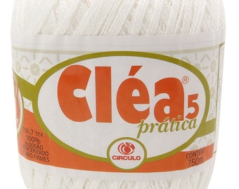 Free Ship White Clea Pratica size 5 Crochet Cotton Thread Yarn Knitting. 820 yds