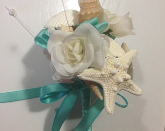 Beach Wedding Seashell Wand Flowergirl  Bouquet Bride Bridesmaids Beach Sea Shell