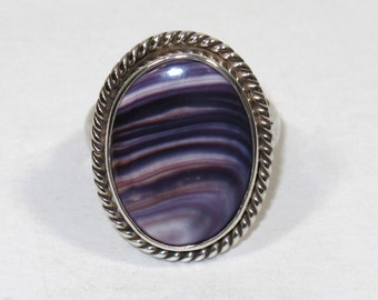 Sterling Silver and Wampum Ring Large size FREE Shipping