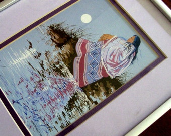 Vintage Indian Art Print Enoch Kelly Haney Native American South Western Blue Mauve Brown
