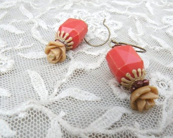 assemblage earrings rose tan orange winter dangle cottage chic flower