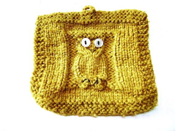 Vintage Handmade Owl Potholder Hand knit Sienna by JunqueGypsy