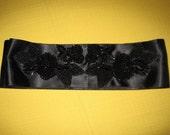 Black Beaded Bridal Sash, Headband, Belt - CLEARANCE