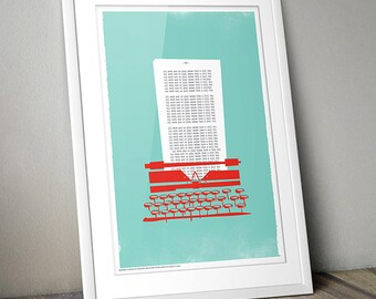 The Shining Typewriter Retro Print A3 (Aqua/Coral Red)