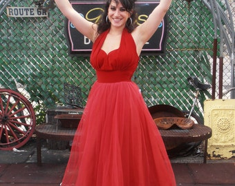 Vintage 1950s Bombshell Red Velvet Cupcake Prom Dress Sweetheart Neckline Rockabilly Fancy Party Dress One of a Kind Formal Gown S/M