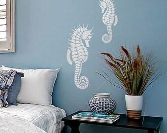 Seahorse Wall Art Stencil - Medium - Stencils even better than wall decals - DIY decor