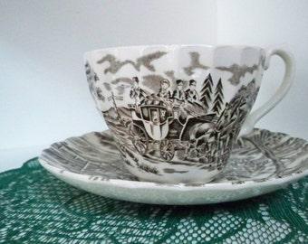 Vintage Serving Brown Transfer - Ware Teacup and Saucer Staffordshire England