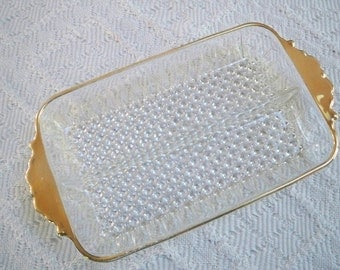 Vintage Dining Serving Glass Divided Dish Gold Trim Bubble Glass Pickle Dish