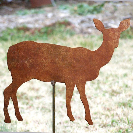 Garden Decor Deer: Doe Garden Stake Rusted Metal Yard Art Doe Garden Marker