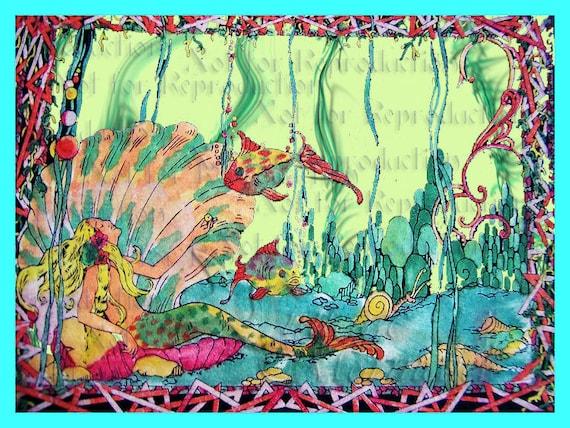 s555 vintage art deco mermaid quilt fabric block mermaid print. Black Bedroom Furniture Sets. Home Design Ideas