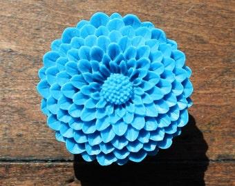 Flower Drawer knobs - Cabinet Knobs Mum in Ocean Blue LARGE, more COLORS (RFK12)