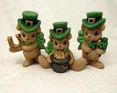 Ceramic Lucky St Patty's Day Bears Set of three