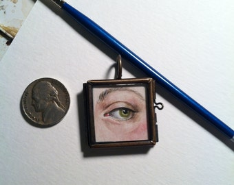 Lover's Eye Miniature Painting 18th 19th c. Century