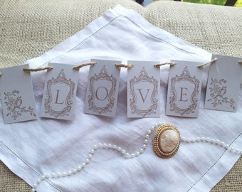 Love Mini Banner Wedding Anniversary Bird Pale Gray Decoration Bunting Garland Photo Prop