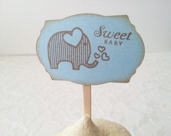 Cupcake Toppers Elephant Baby Shower Its a Boy Sweet Baby Food Pick Set of 12