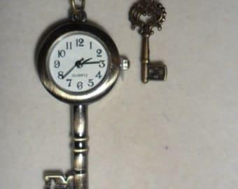 Ladies Steampunk Key Pendant  Watch