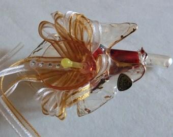 Antique Murano Via Veneto Glass Blossom Flower Calla Decoration 1950s Original Box Signed small Centerpiece